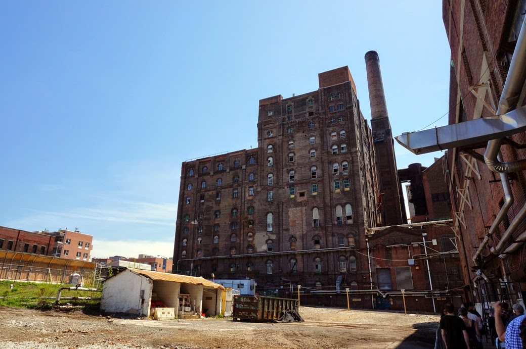 View of Domino Sugar Refinery from adjacent lot