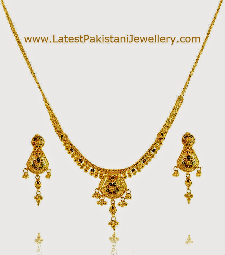 Gold Necklace with Meenakari Work | Latest Pakistani Jewellery