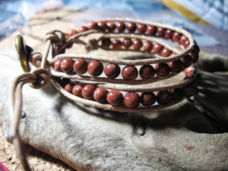 Gold Stone leather wrap bracelet