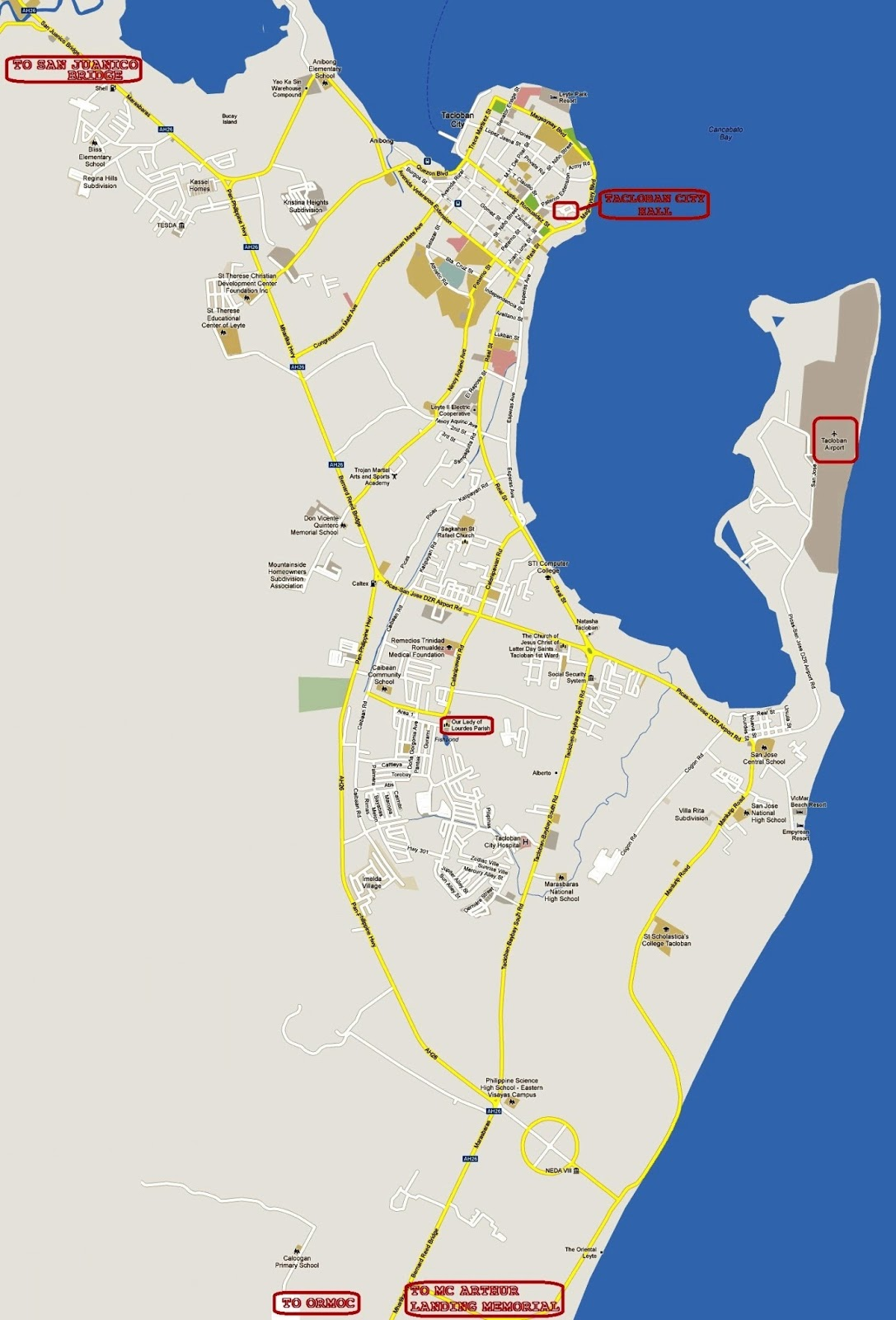 tacloban city, tacloban map, tacloban city map, map tacloban city, map san juanico bridge, san juanico bridge map, around tacloban, what to do in tacloban, where to go in tacloban