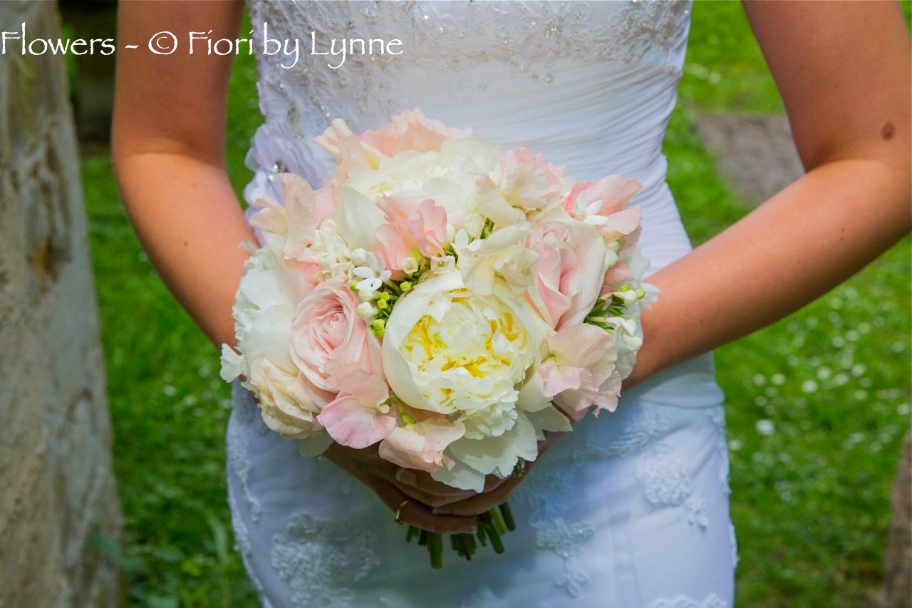 white peonies and bouvardia with palest pink roses and sweet peas
