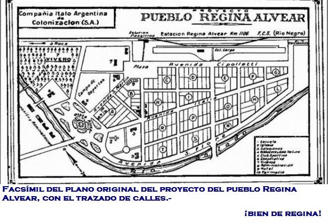 Facsímil del plano original del proyecto del pueblo Regina Alvear, con el trazado de calles.