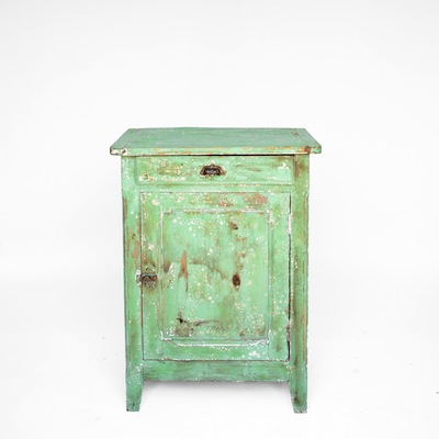 Side Table Is My Favorite Shade Of Mint Green, And The Antique Drawer