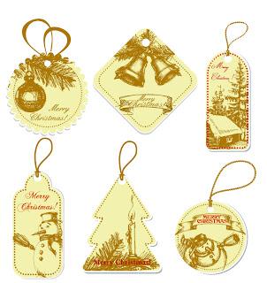 手描き風のクリスマス飾りのラベル見本 handdrawn style vector label tag christmas イラスト素材