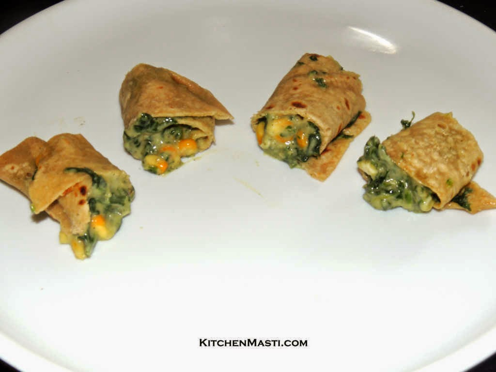 Spinach Stuffed Chapathi Rolls