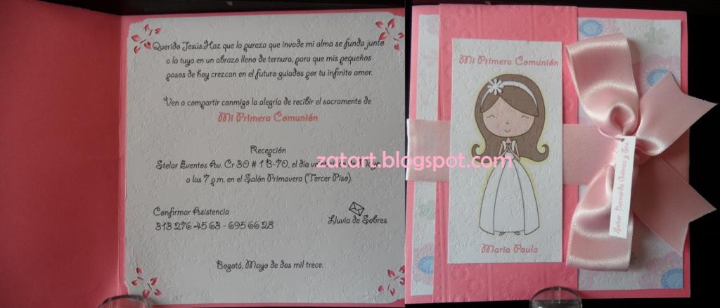 Como hacer tarjetas de primera comunión para niña - Imagui