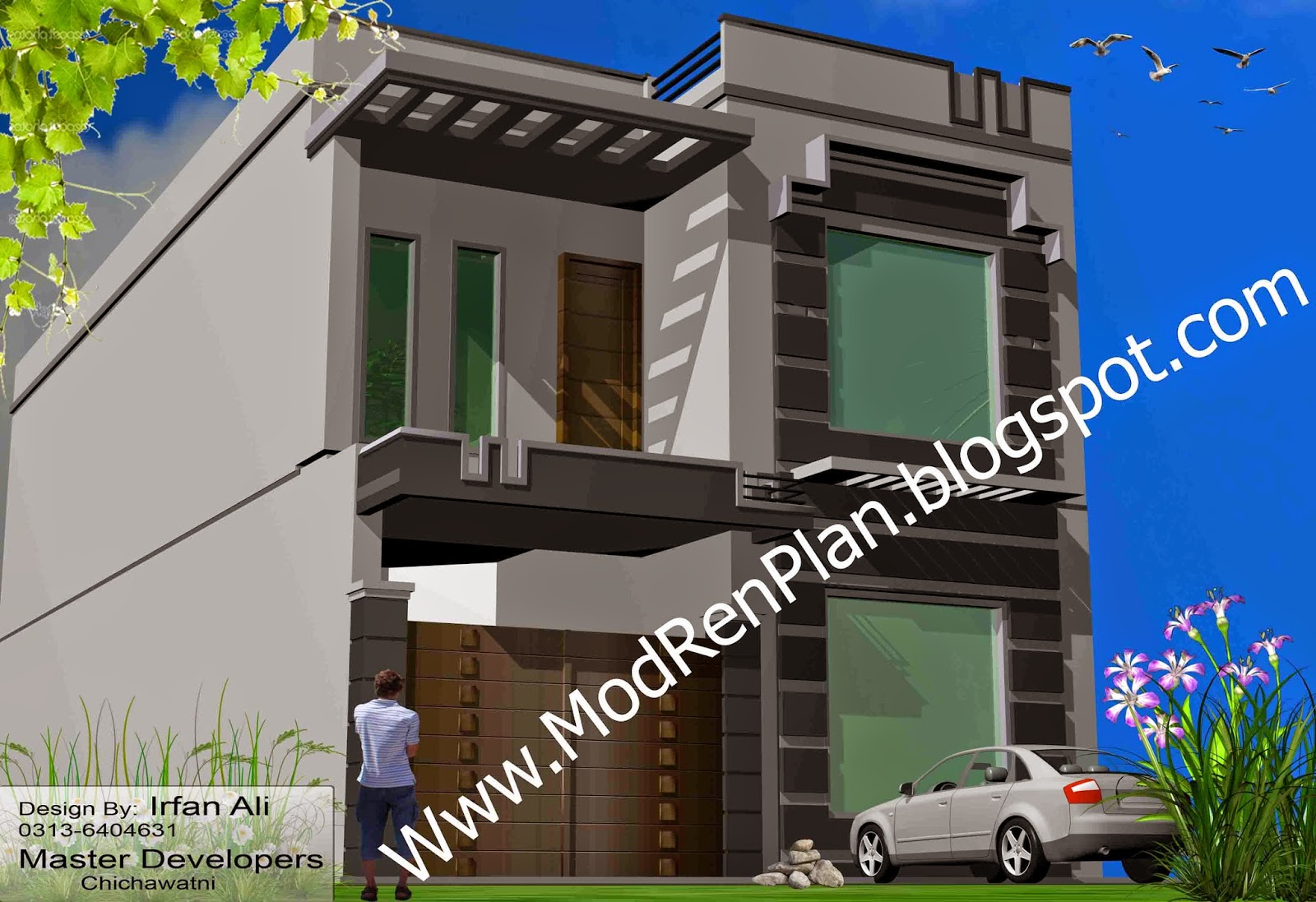 marla Front Elevation-house design-indian style house-arabic-villa