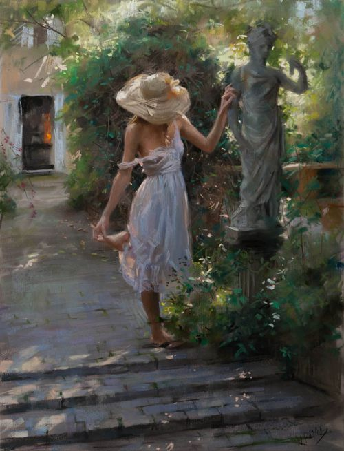 Vicente Romero pinturas mulheres impressionistas beleza Passeando pelo jardim