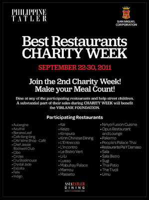 Philippine Tatler Best Restaurants Charity Week