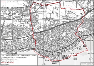Map of proposed new local government boundaries for Ward 8 The Ferry in Dundee City Council July 2015