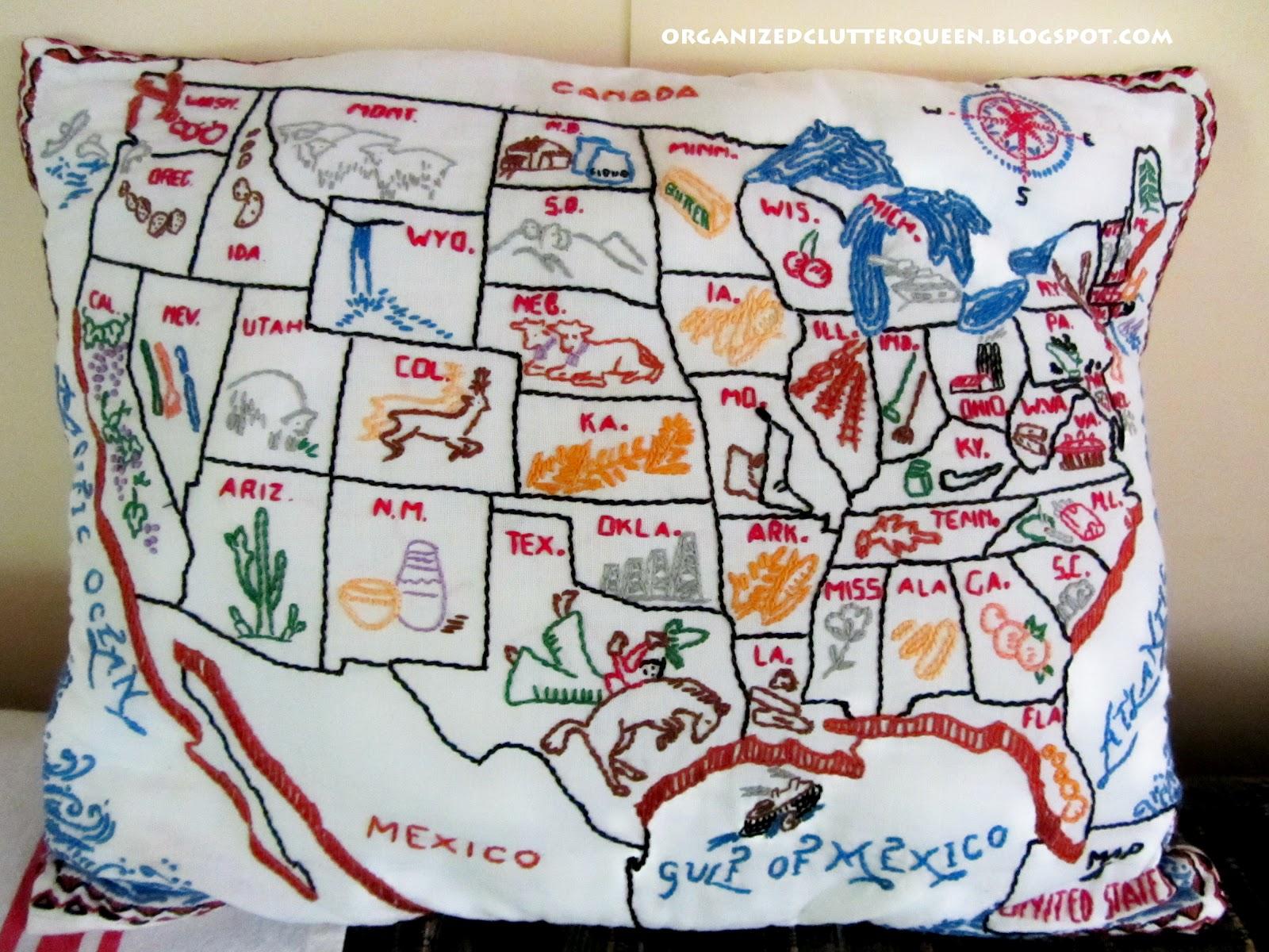 Vintage USA Map Pillow Organized Clutter