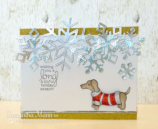Doxie Christmas card by Samantha Mann for Newton's Nook Designs - Holiday Hounds Stamp Set
