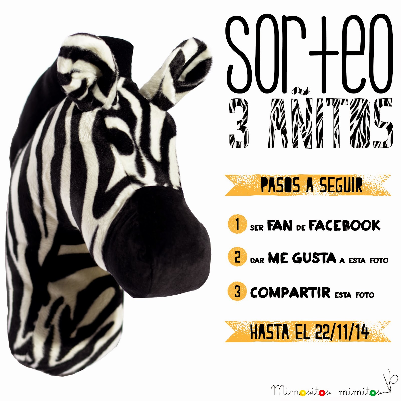 sorteo cumpleblog 3 años cabeza de tela cebra gratis promo softhead handmade zebra