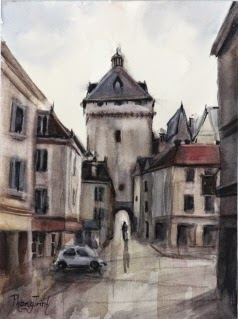 Wonderful Central France Village Watercolor Painting on paper Popular Classic Postcard or Pochade size 6 x 8 inches or 15 x 20 cm , USD $95 Ideal as gift, hanging on its own or in groups due to small size