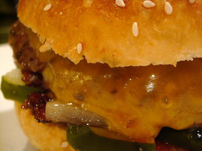Cheddar-and-onion smashed burgers with homemade sesame buns
