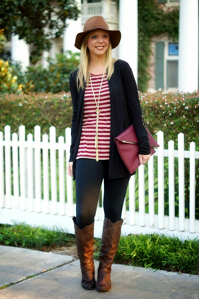 cardigan, tunic, leggings and riding boots fall outfit idea