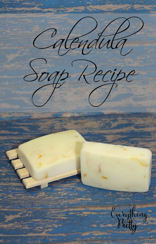 Easy calendula soap recipe with milk powder, coconut oil, and chamomile for dry or irritated skin.