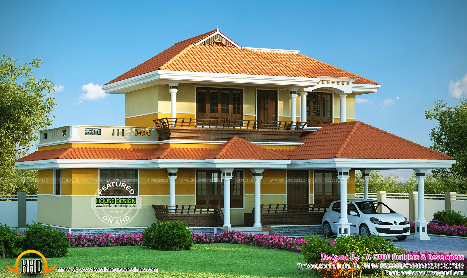 Kerala model architecture house kerala home design for Kerala model house photos with details