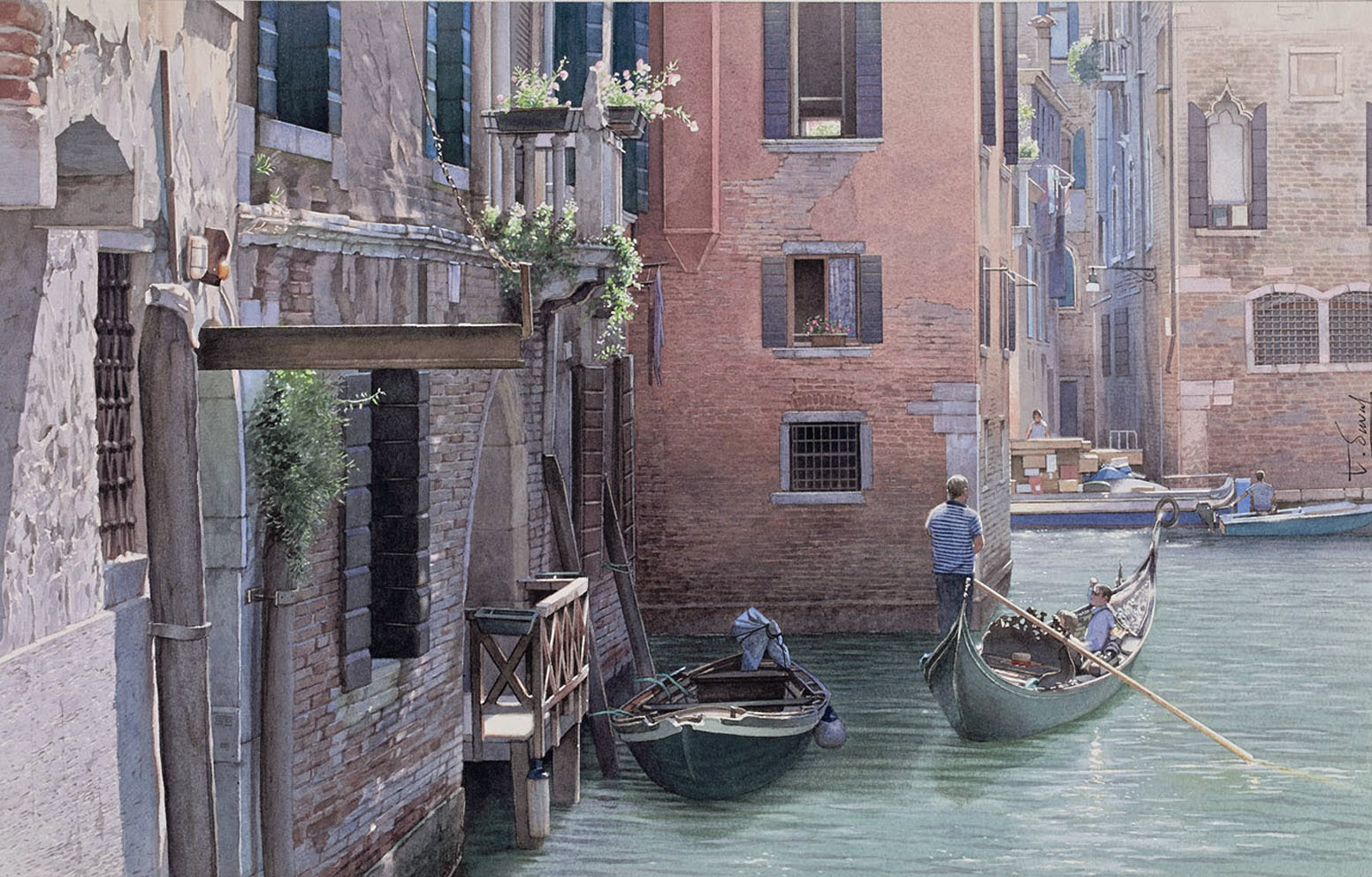 12-Venice-Thierry-Duval-Snippets-of Real-Life-in Watercolor-Paintings-www-designstack-co