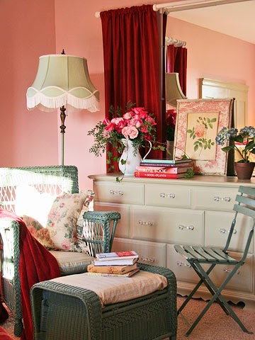 Tema floral kamar tidur romantis