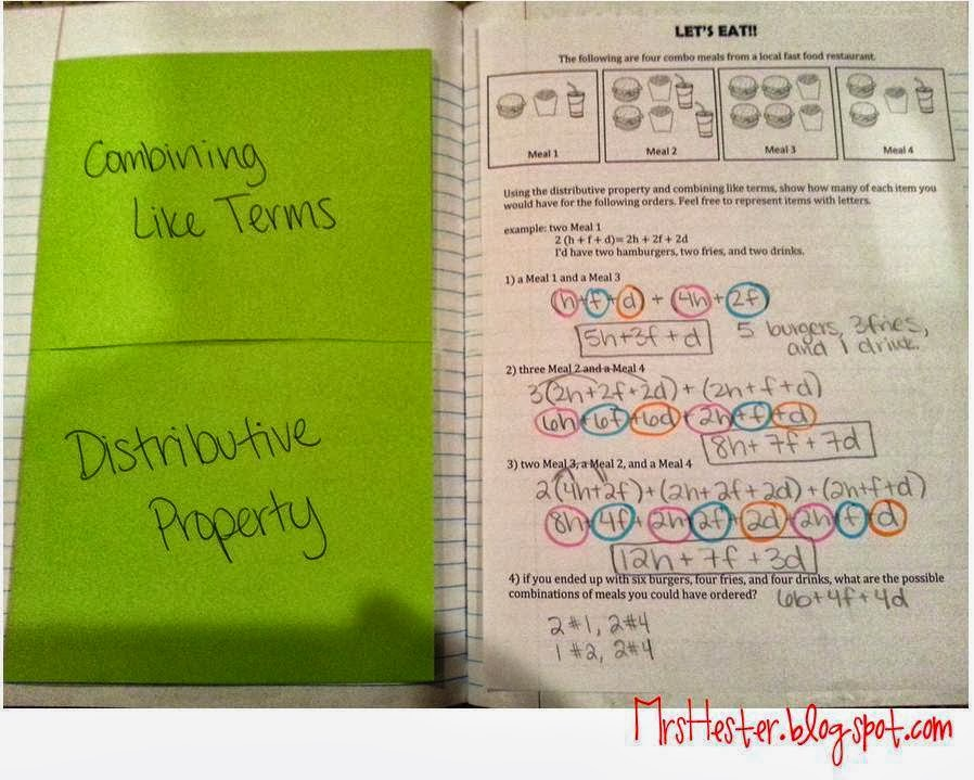 Mrs Hesters Classroom October 2013 – Distributive Property Combining Like Terms Worksheet