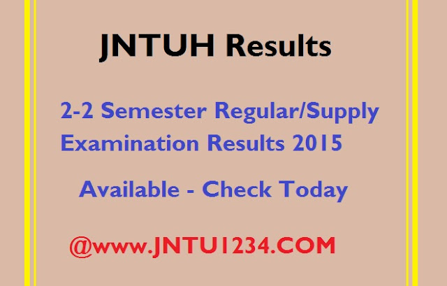 jntuh 2-2 regular/supply results