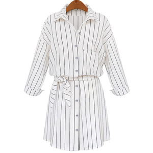 White Lapel Vertical Striped Self-Tie Blouse from Withchic
