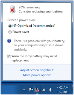 Masalah Consider Battery Pada Windows7