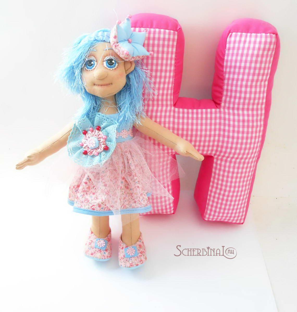 игровая текстильная кукла карамелька принцесса, мягкие буквы