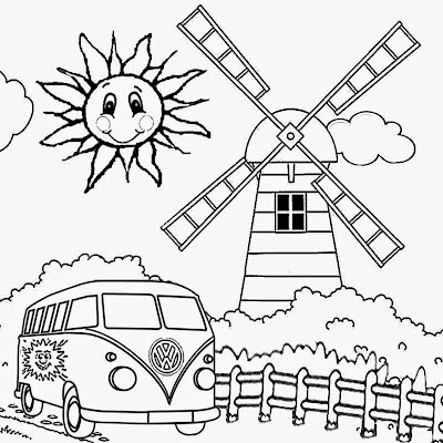 festival VW camping hippy happy holiday summer crafts for preschool coloring pictures to print out