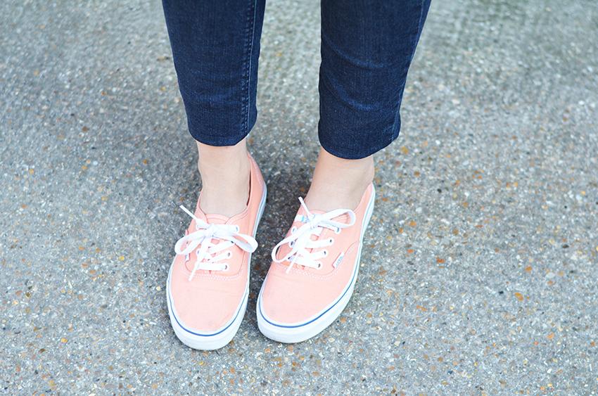 tendance baskets, vans orange, vans pêche, baskets colorées pour l'été