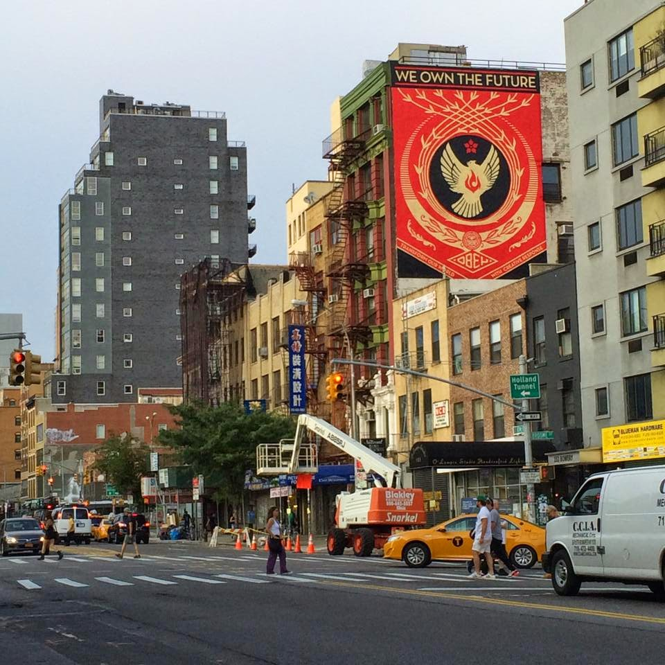 Shepard Fairey spent the last few days working up high in Manhattan on a new piece for the excellent Lisa Project NYC.