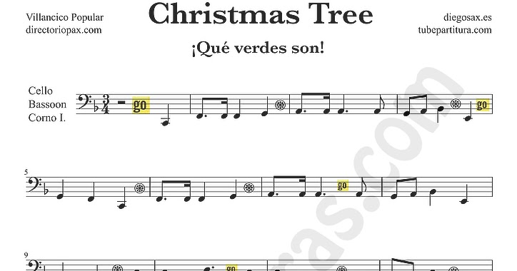 ... son partitura para Chelo y Fagot Partitura de Villancico de Navidad