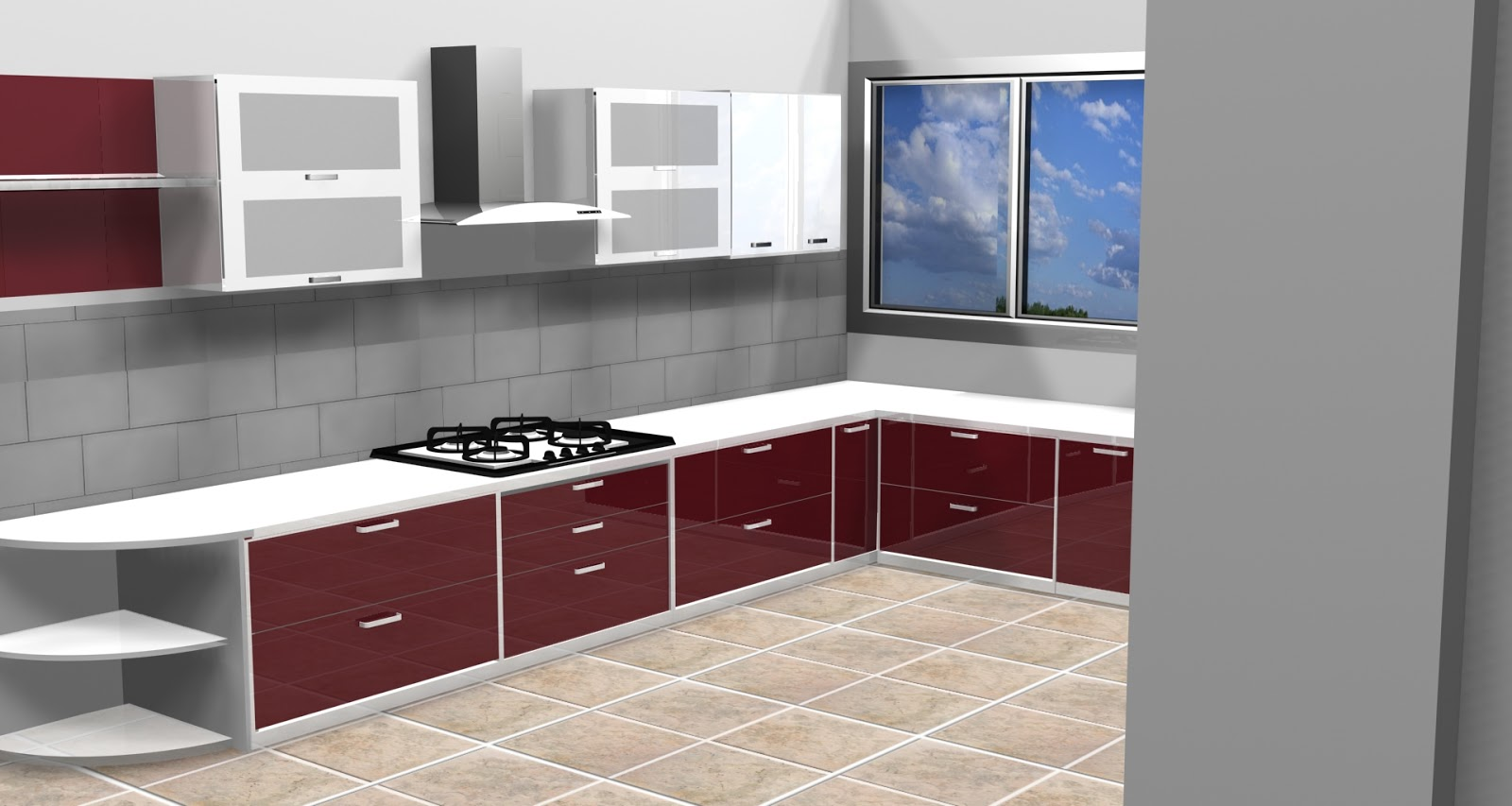 Anuj khanna 9873374916 vasant kunj kitchen layout in 3ds max for Kitchen furniture 3ds max free