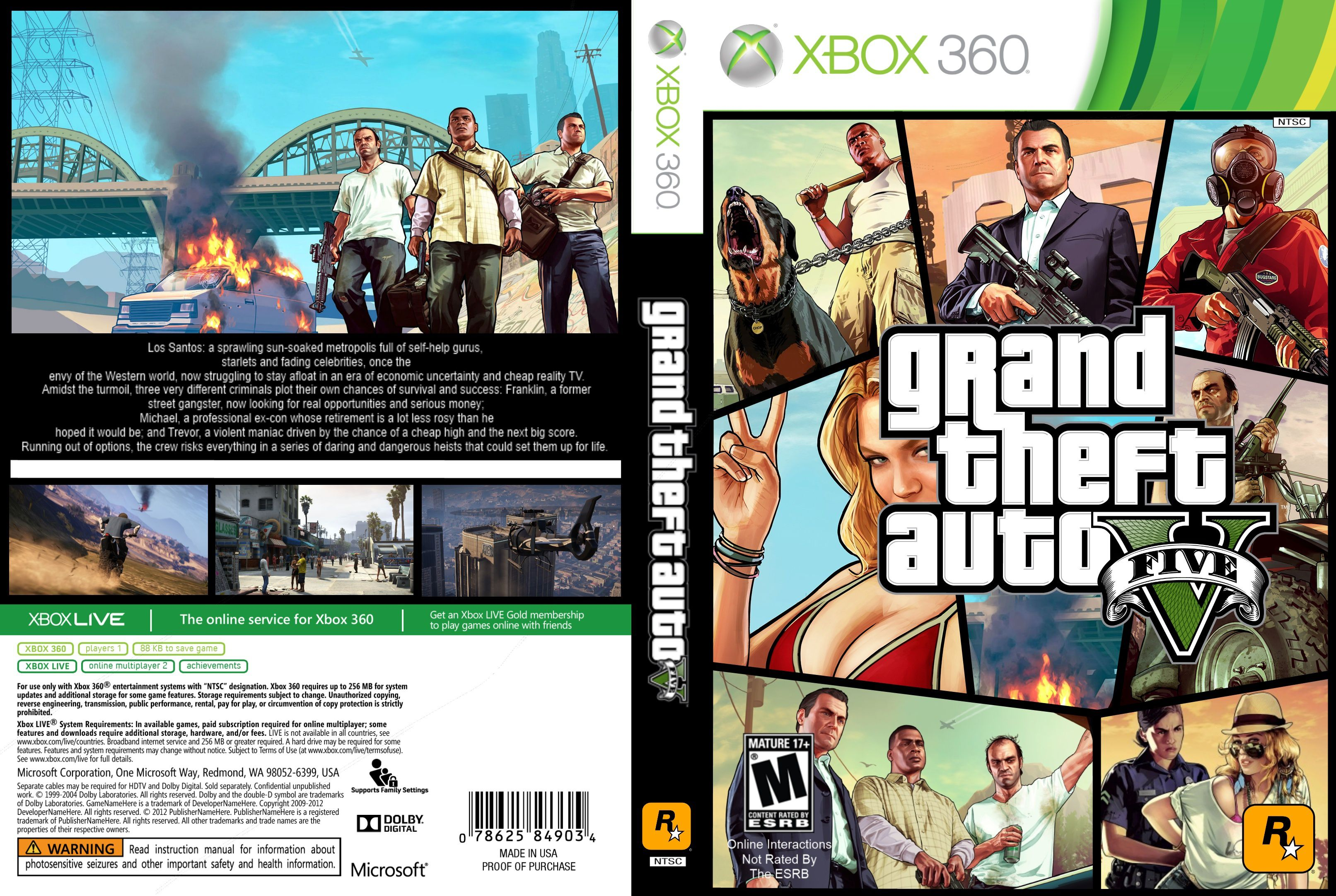 Gta 5 xbox 360 back cover