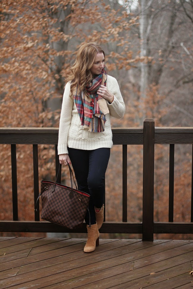 jcrew cashmere sweater, merona plaid scarf, tory burch booties, louis vuitton neverfull, daniel wellington watch