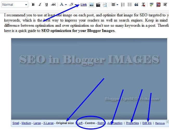 choose options for Blogger images to optimize it for SEO