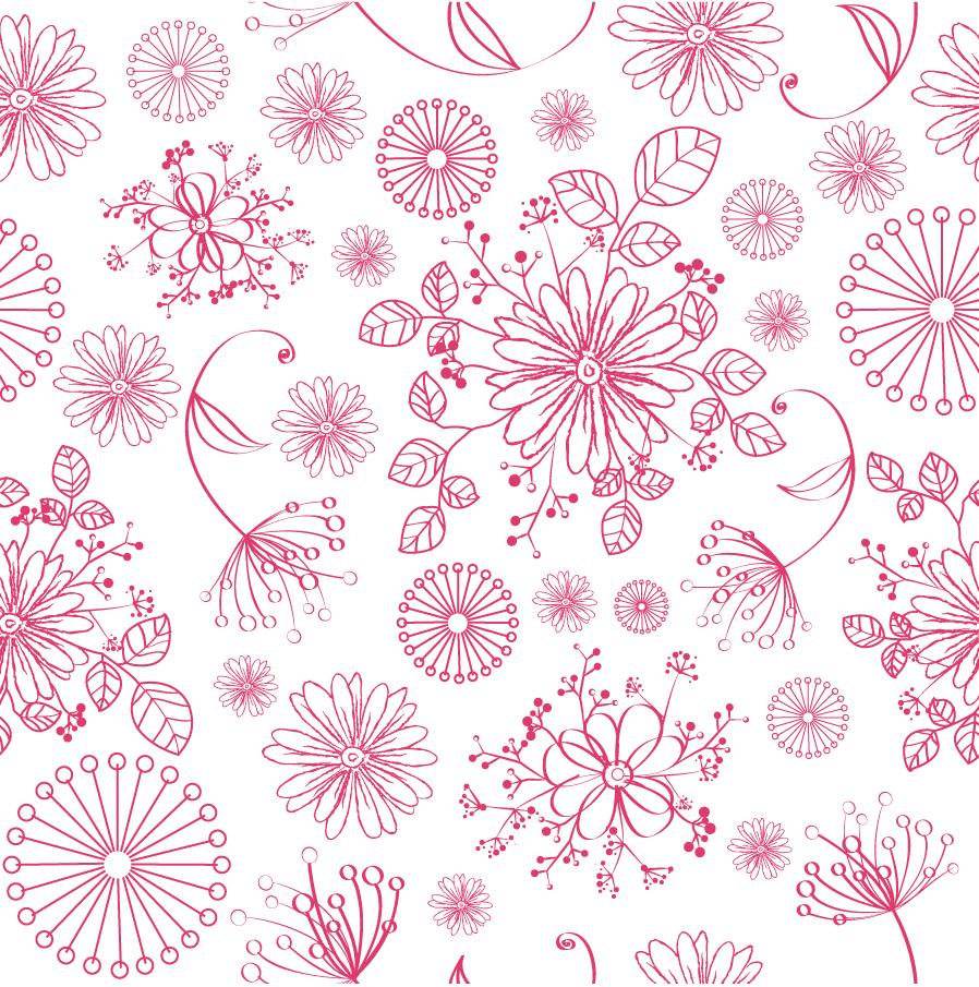 シームレスな植物の線画 Seamless Floral Pattern イラスト素材
