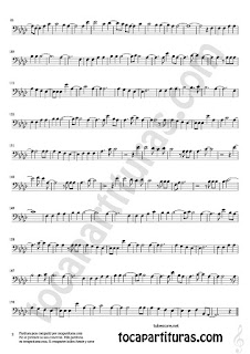 2  Hello by Adele Partitura de Trombón, Chelo, Fagot y Bombardino en clave de fa Sheet Music for Trombone, cello, bassoon,Euphonium in bass clef Music Scores