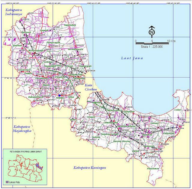 Peta kabupaten Cirebon. Untuk High resolusi silahkan klik disini