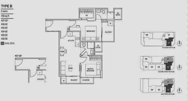 Loft 33 @ Geylang 2 Bedrooms Floor Plan