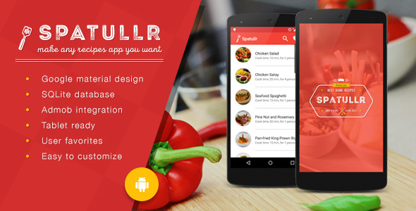 Spatullr v303 recipes app for android applications mobile spatullr is a mobile application template for food recipes based on android platform that comes with awesome features in simple and beautiful design forumfinder Images
