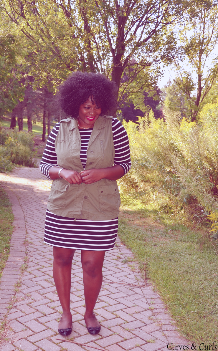 Fall style stripes dress and utility vest -mycurvesandcurls