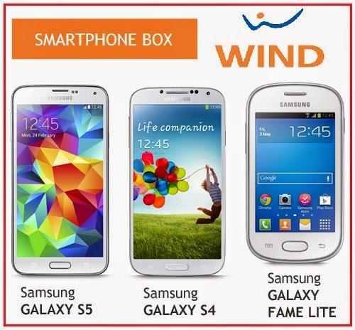 promozione wind smartphone box, comprare a rate il samsung galaxy