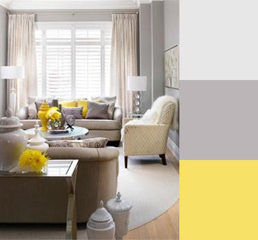 colores amarillo y gris en sala