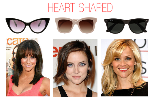 Which sunglasses to wear when you have a heart shaped face - Reese Witherspoon, Jennifer Love Hewitt