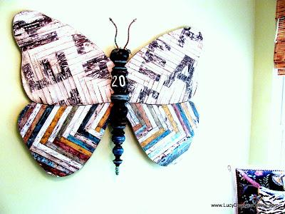 reclaimed wood look butterfly art