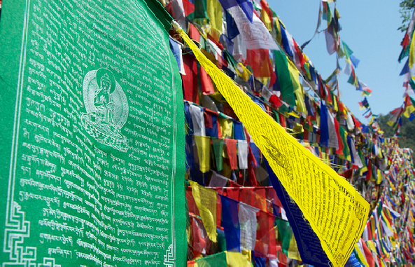 prayer flags in Rewalsar Lake