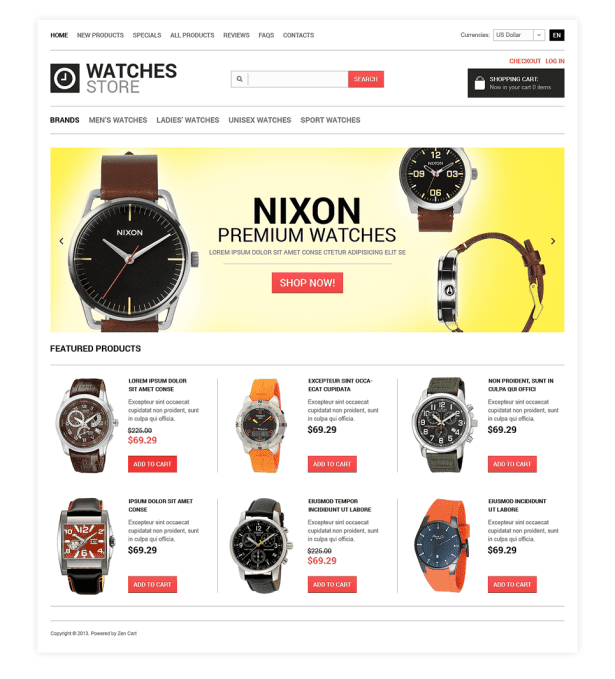 Watches Shop ZenCart Template