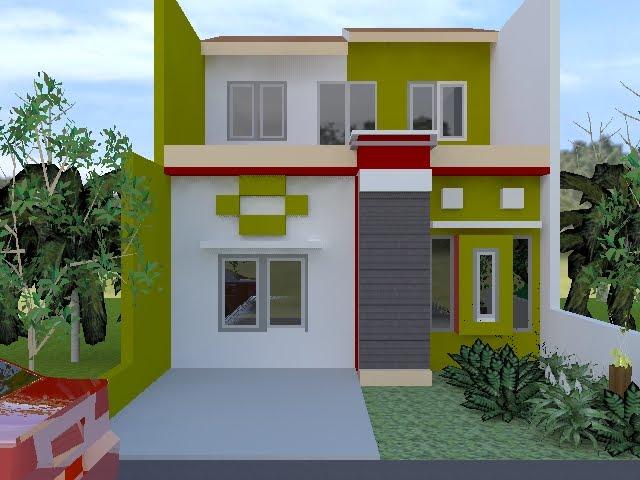 Ada tiga warna utama yang digunakan pada muka rumah diatas yaitu putih